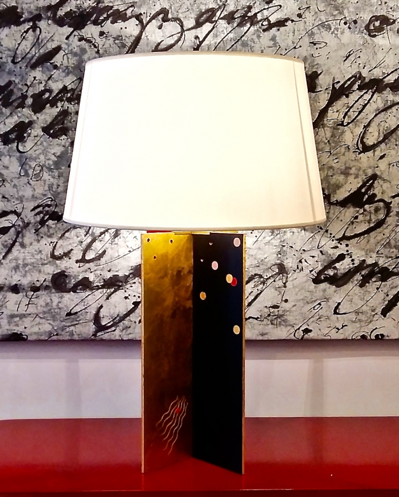 Pair of lacquered wooden lamps and gold leaves by Fabienne Jouvin