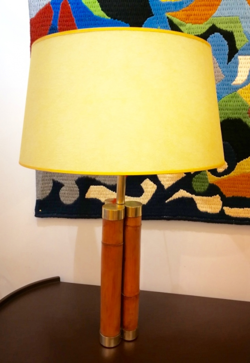 Bamboo and brass lamp, Italian work circa 1970
