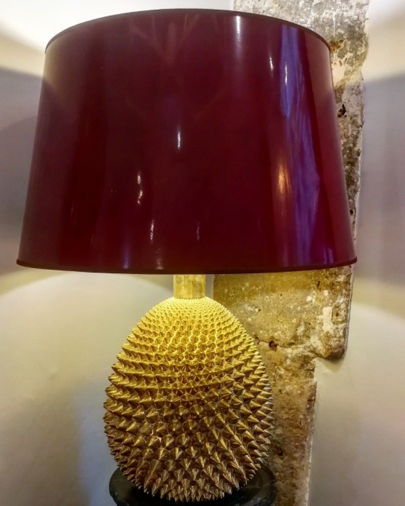 Golden ceramic lamp circa 1960